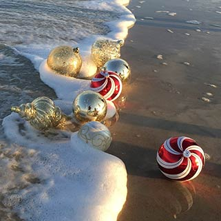 Christmas Balls on Beach